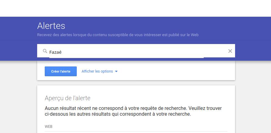 capture d'écran page d'accueil Google Alertes